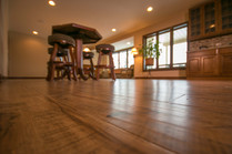 New wood floors installed in basement