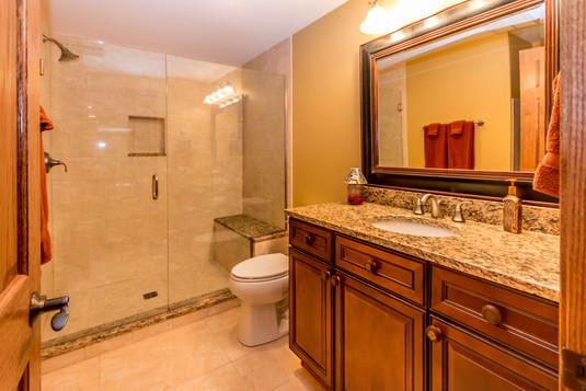 Basement bathroom remodel with walk in shower