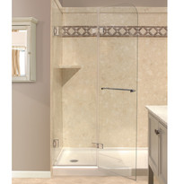 COVE FRAMELSS RETRACTABLE SHOWER SHIELD.