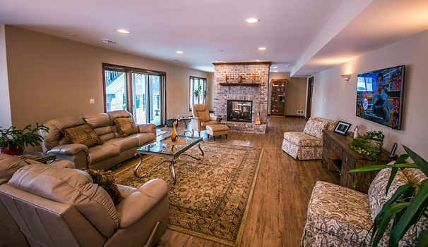 Finished basement ideas including fireplace and hard wood floors