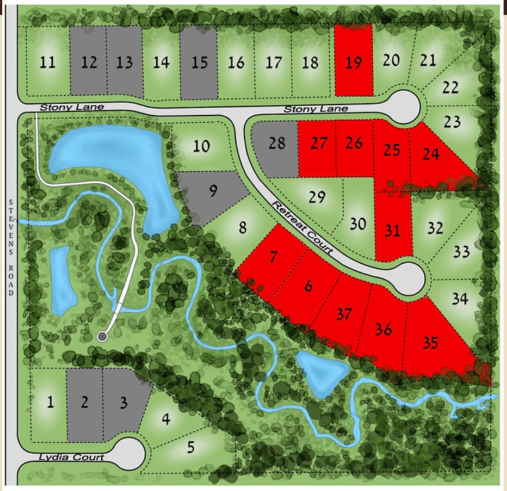 Stony Creek custom home community site map