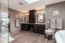 Luxury bathroom with wall to wall cabinetry
