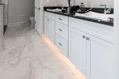 Freshly installed marble bathroom flooring