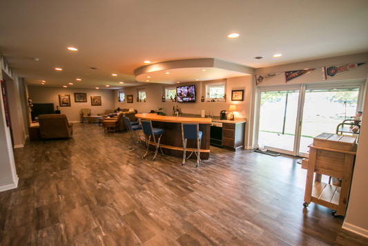 Basement remodeled into entertainment space