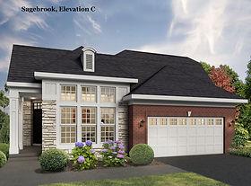 Sagebook ranch home model with two car garage