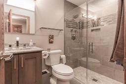 Bathroom vanity, toilet and shower
