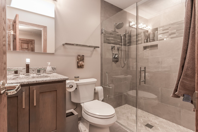Bathroom vanity, toilet and shower