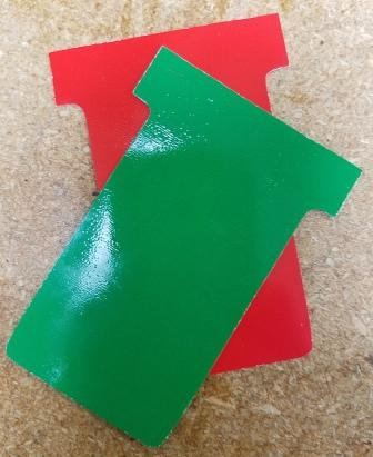 2 sided #2 SIZE PLASTIC T-CARDS RED-GREEN, 10 PACK