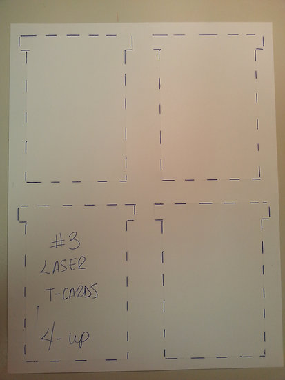 #3 SIZE LASER T-CARDS, BLANK, 4 on a page 1000 pack (choose color)