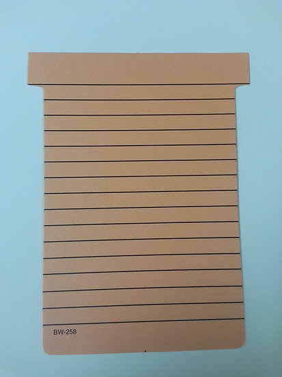 BW-258, #3 SIZE T-CARDS, LINED, 500 pack (color)