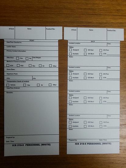 ICS 219 T-CARDS- 100 PACK (choose version)