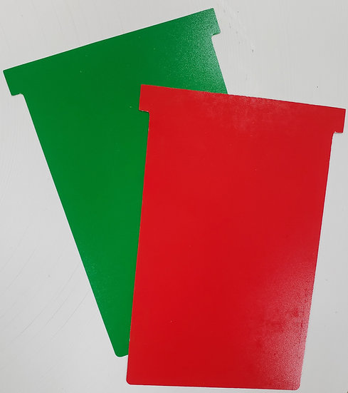 2 sided-#4 SIZE PLASTIC T-CARDS, RED/GREEN 10 PACK
