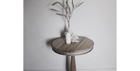Hand carved round side table
