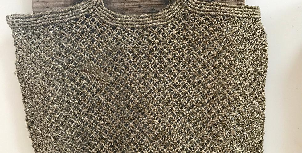 Hand woven macrame Market bag - Olive