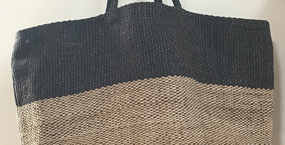 Hand woven jute Shopping bag black