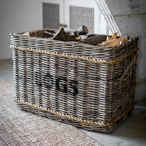 Garden Trading Rattan Rectangular Log Basket