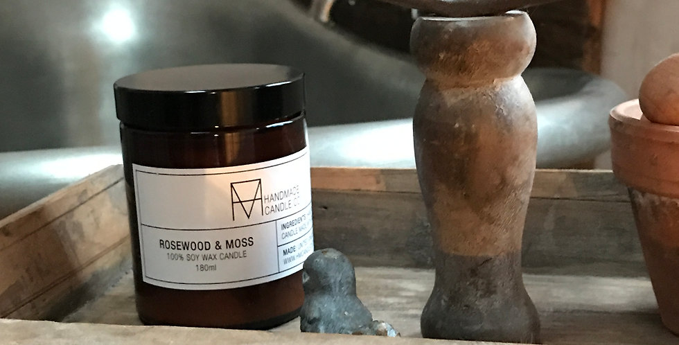 Handmade soy wax candle - Rosewood and Moss
