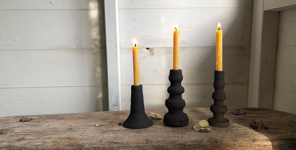 Handmade Candle Sticks - black