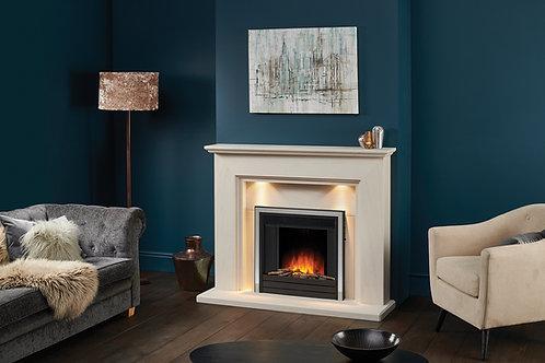 Lyrel limestone fireplace