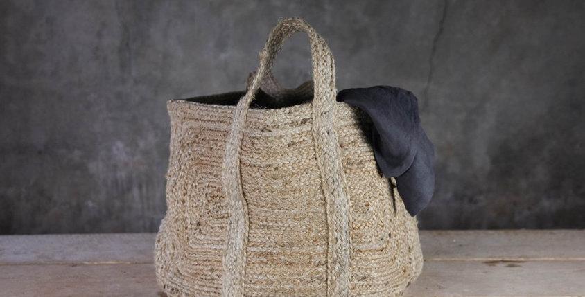 Braided hemp storage basket - natural