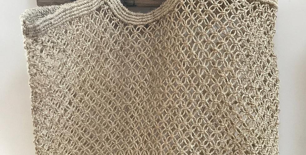 Hand woven jute macrame jute bag - natural