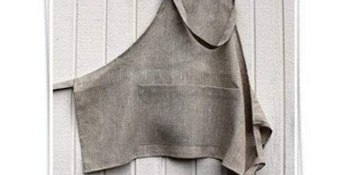 Linen cafe style apron - Wash natural linen