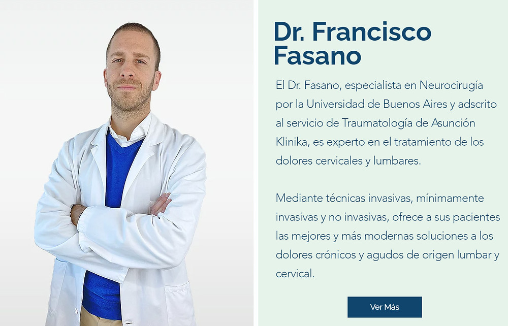 Dr. Francisco Fasano, experto en el tratamiento del dolor lumbar