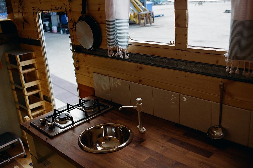 diy campervan build kitchen install