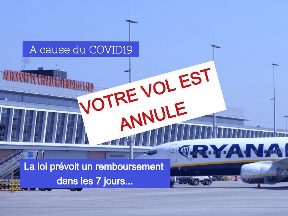 Covid19 Ryanair Aéroport annulation