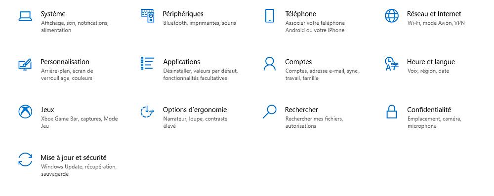 menu des paramètres windows 10