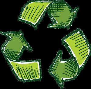 cartoon/hand-drawn recycling logo