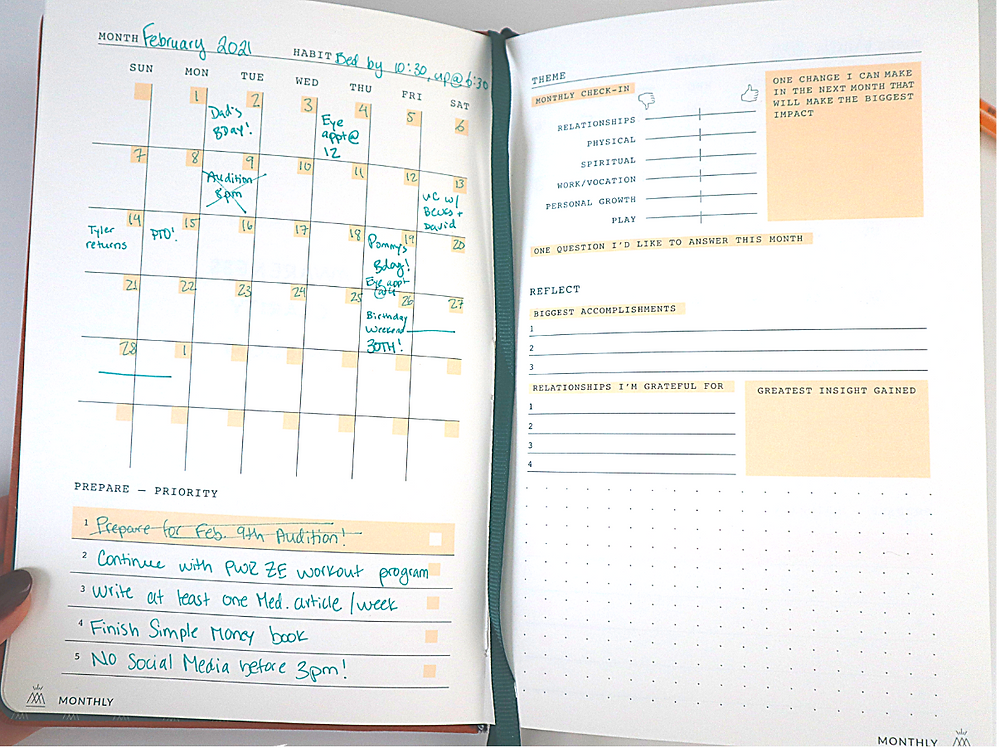 month layout of monk manual