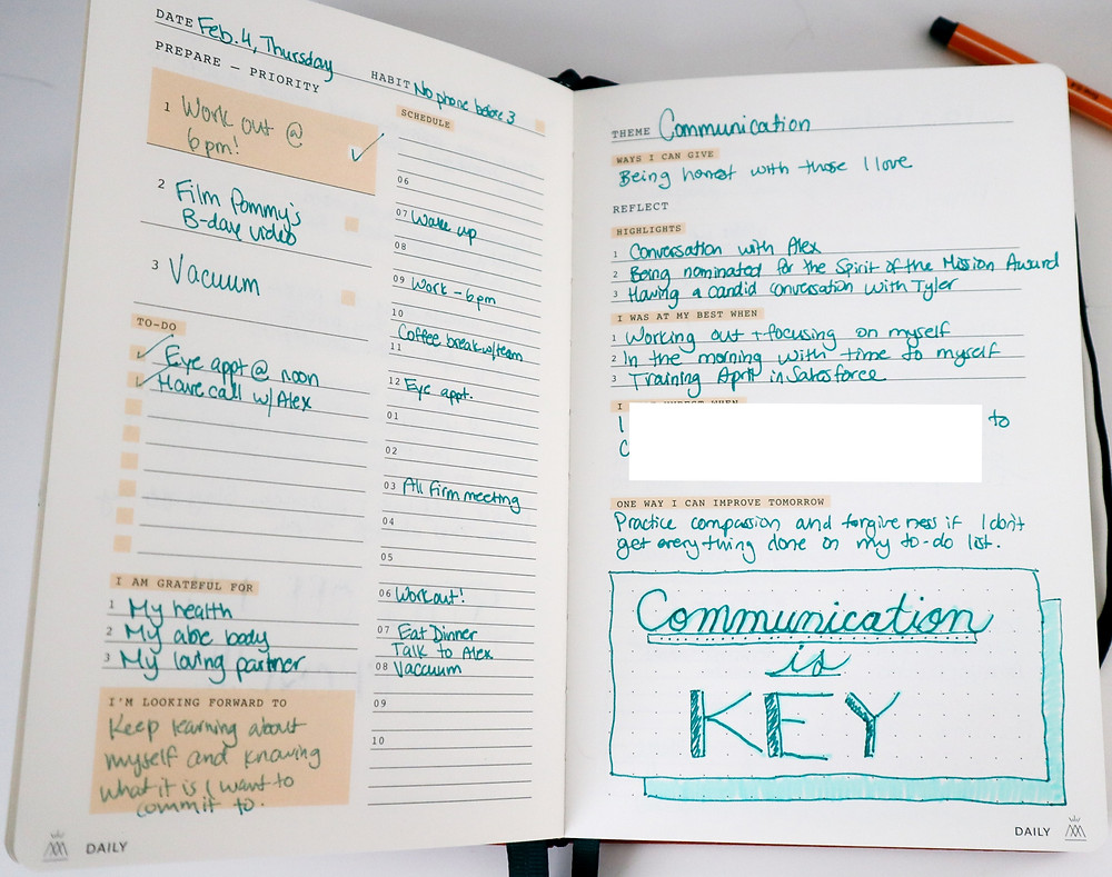 Daily layout in the Monk Manual