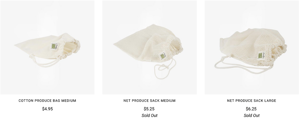 Cotton produce bags from Package Free Shop online