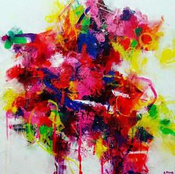 Neon Dreams, 2016, Acrylic on Canvas, 16x16 inches
