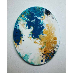 New oval painting! This piece would look stunning surrounded by different sized square and rectangul