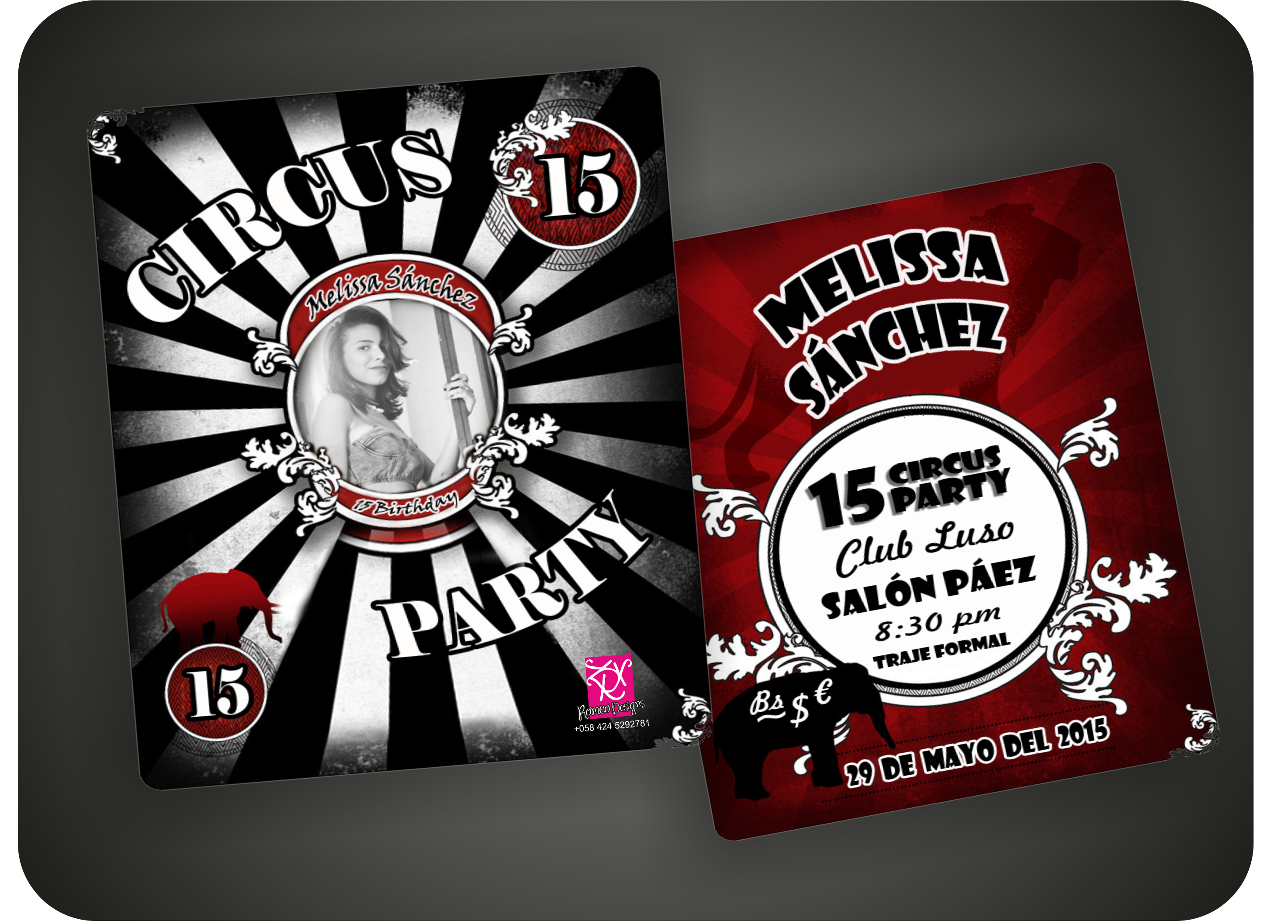 design party invitations circus