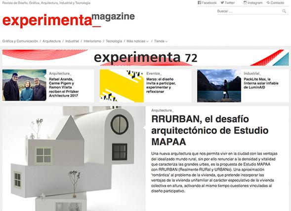 03/08/2017. RRURBAN featured in EXPERIMENTA Mag