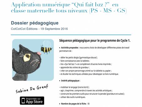 """À télécharger - cycle 1 : fiche pédagogique du livre numérique """"Qui fait bzz ? """" pour la maternelle"""