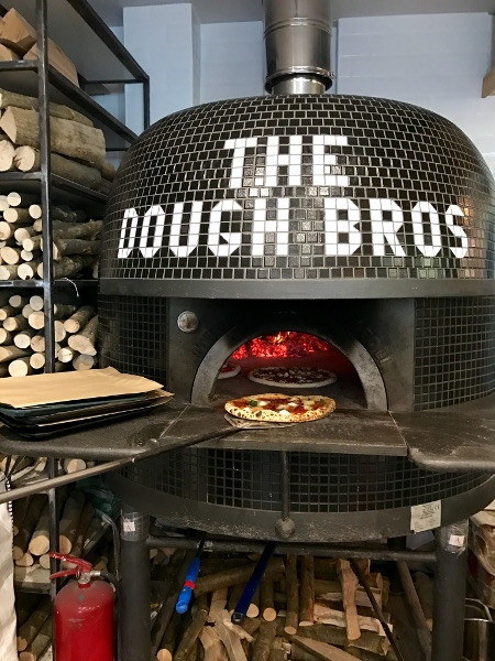 The real wood fired oven at Dough Bros