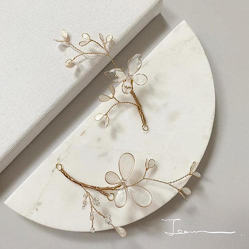 珍珠白蝴蝶兩件組合髮飾(需兩星期製作)
