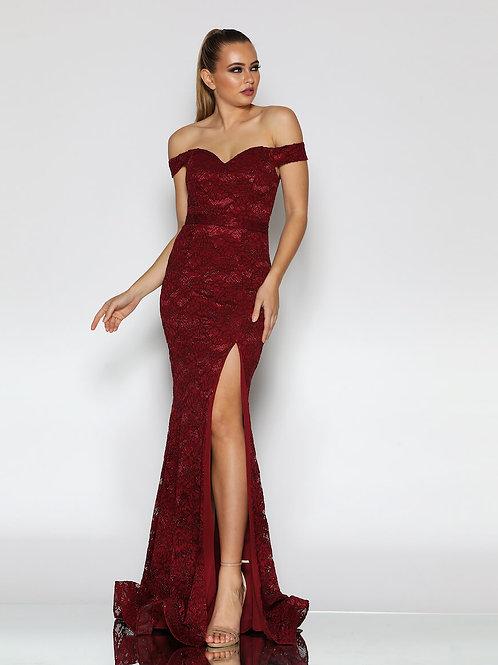 J9013- 澳洲品牌Jadore酒紅色off shoulder晚裝