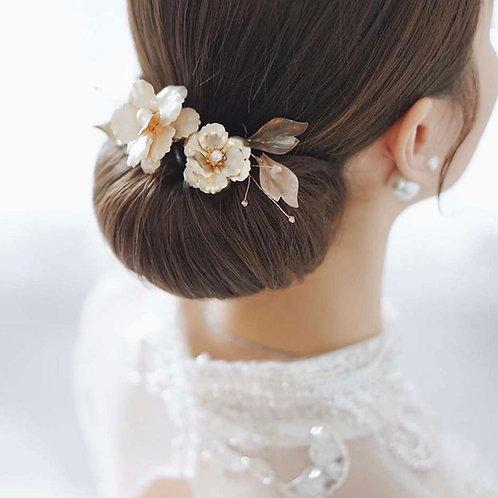 大玫瑰花園-復古雙花金葉髮飾(需兩星期製作)