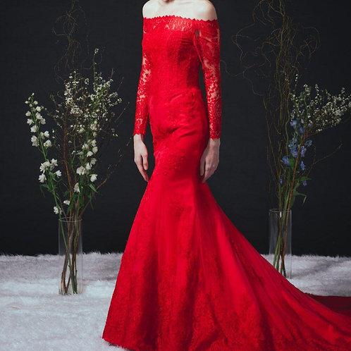 EGF002 -大紅色lace一字肩長袖魚尾晚裝