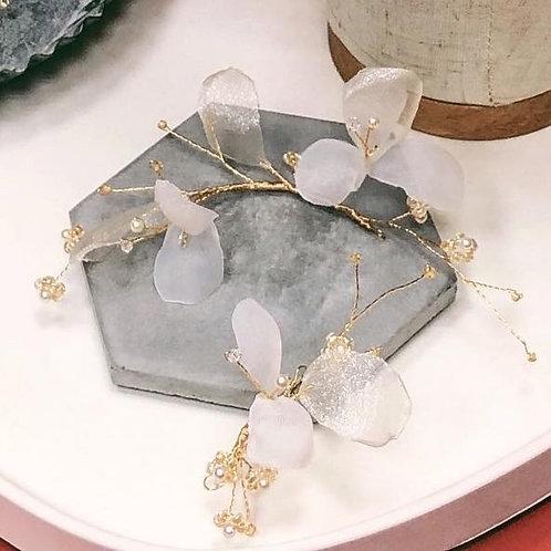 夢幻白紗-白紗花瓣2件裝髮飾 (需兩星期製作)
