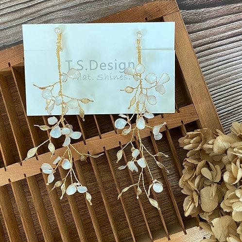 Jean's Creation薔薇花園 - 薔薇花長耳環(針/夾)(需兩星期製作)
