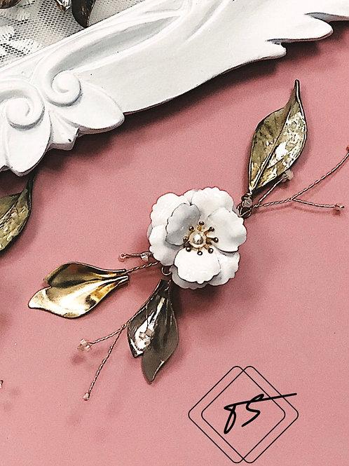 大玫瑰花園-復古單花金葉髮飾(需兩星期製作)