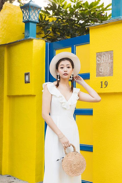 雙肩荷葉飾邊裙