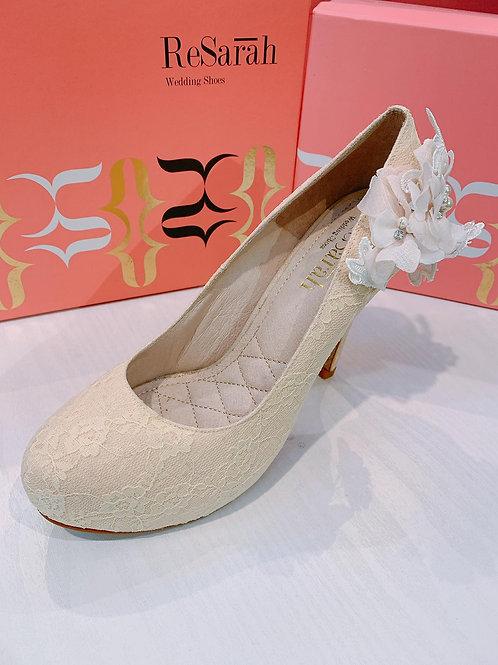 ReSarah台灣手工婚鞋 - 米色lace圓頭高跟鞋