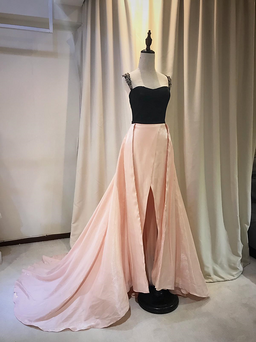EGS003- 粉紅拼黑色開叉晚裝
